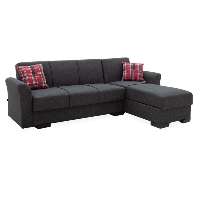 Corner sofa bed Aster pakoworld reversable anthracite 240x80/150x80cm