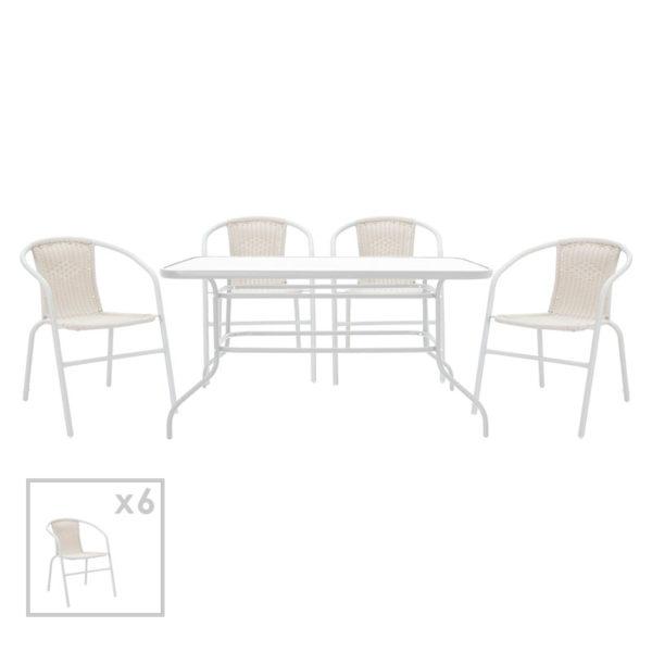 Τραπεζαρία κήπου Valor-Obbi σετ 7τεμ pakoworld μέταλλο-pe λευκό