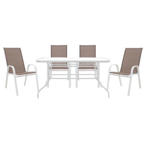 Τραπεζαρία κήπου Valor-Calan σετ 5τεμ pakoworld μέταλλο λευκό-textilene καφέ