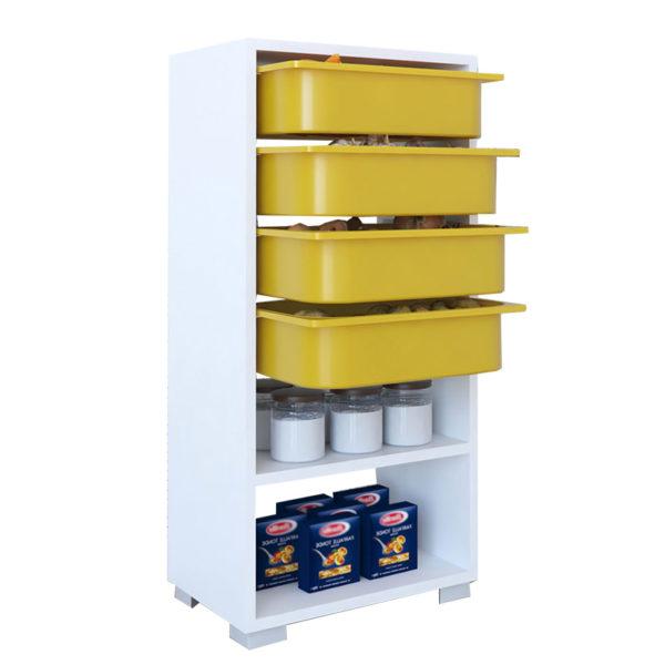 Συρταριέρα Ismay pakoworld 4 συρτάρια λευκό-κίτρινο 45