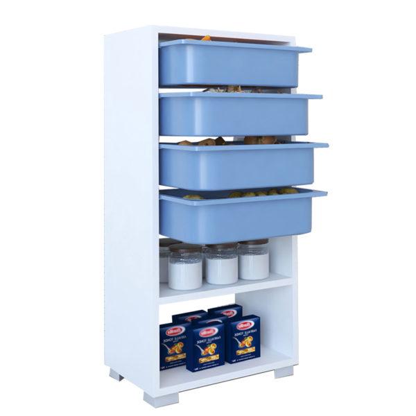 Συρταριέρα Ismay pakoworld 4 συρτάρια λευκό-μπλε 45