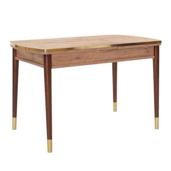 Tραπέζι Avalon pakoworld επεκτεινόμενο oak-καρυδί-χρυσό 130-165x69x75εκ